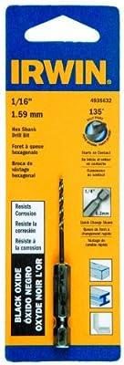 Irwin Tools 4935632 Black Oxide Hex Shank Drill Bit, 1/16-Inch