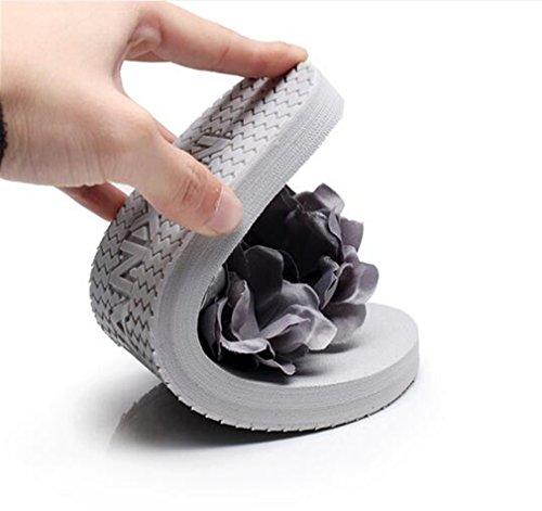 Thong Talons Sandales Flip pantoufles Tongs Sandales Flops 5CM Sable Fleurs Summens femme Chaussures Plage Sandales de Compensé Talon été Pantoufles Des af8cB6