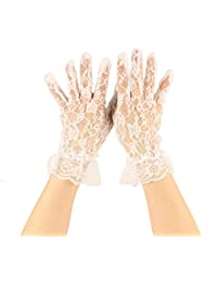 Fancy Floral Sheer Lace Tea Party Vintage Style Ruffle Wrist Dressy Gloves