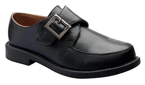 OLIVIA KOO Boy's Oxford Shoe - Round Toe- Patent, Leather, Buckle, Lace up Style