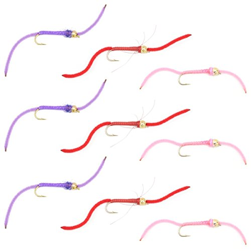 Nymphs Fly Set (The Fly Fishing Place Worminator Trout Fly Assortment - Improved San Juan Worm Power Bead Set of 9 Wet Nymph Fly Fishing Flies - Hook Size 8 - 3 Each of 3 Patterns)