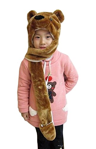 Tonwhar Cartoon Animal Hood Hoodie Hat with Attached Scarf and Mittens (Brown Bear) (Kids Bear Costume)
