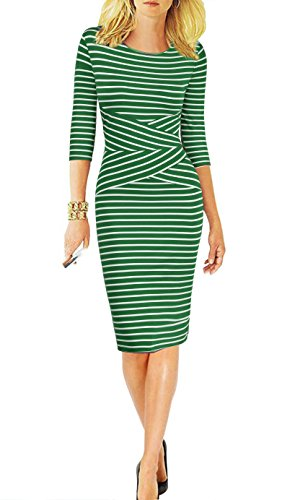 (REPHYLLIS Women 3/4 Sleeve Striped Wear to Work Pencil Dress US Size (Small,)