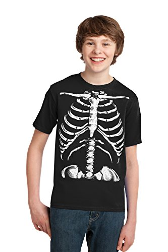 Skeleton Rib Cage | Jumbo Print Novelty Halloween Costume Youth T-shirt-Youth,M Black