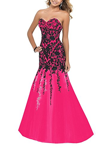 Appliques Hot Pink Women's Evening Fanciest Gowns 2017 Sweetheart Mermaid Prom Dresses qE6z16v