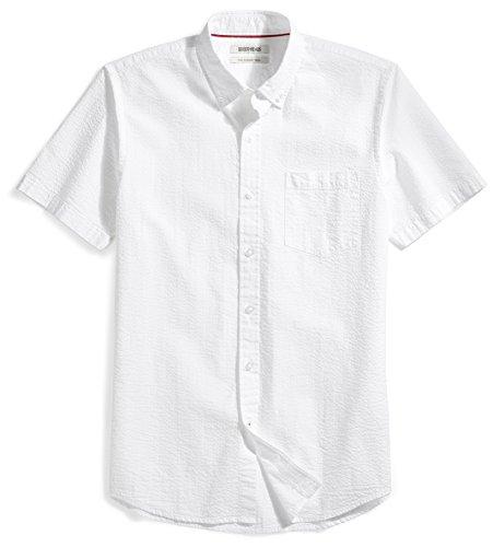 Goodthreads Men's Slim-Fit Short-Sleeve Seersucker Shirt, Solid White, X-Large
