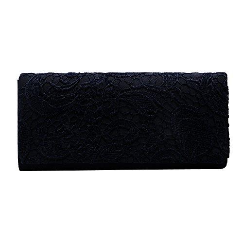 for Women Bag clutch evening Bridal clutch wedding Ladies Zadaro Black purse Lace zZpSdOq