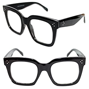 Womens Large Clear Lens Frame Catherine Fashion Designer Eye Glasses (BLACK)