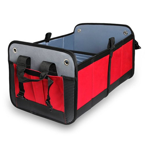 Soyan Car Trunk Organizer, Foldable, Heavy-Duty, Non-Slip Bottom (Red) (Accord Trunk Honda)