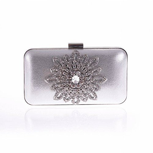 Chain Root Cross Silver Sun Synthetic Section Bag Single Diamond Bag Clutch Mouth Bag Square Handle with Small Credential Flower Bag Square Party Evening Open Soft Leather Women's Face Bag Fashion YTTY wA4qf66