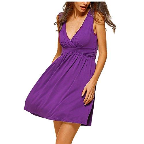 HARHAY Women's Sleeveless V-neck Summer Sun Dress Purple M