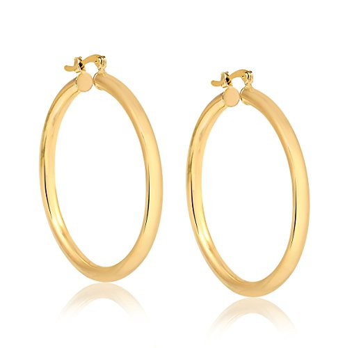 10K Solid Gold 3X30MM thick Round Hoop Earrings- French Lock Closure by Pori Jewelers