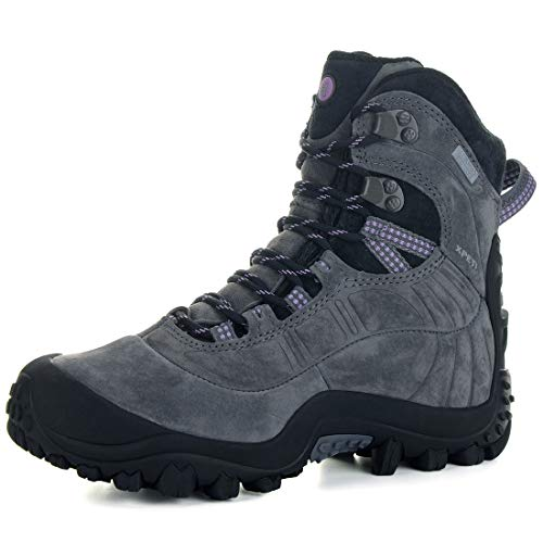 XPETI Women's Thermator Evo Mid High-Top Waterproof Leather Hiking Outdoor Boot Gray 8.5