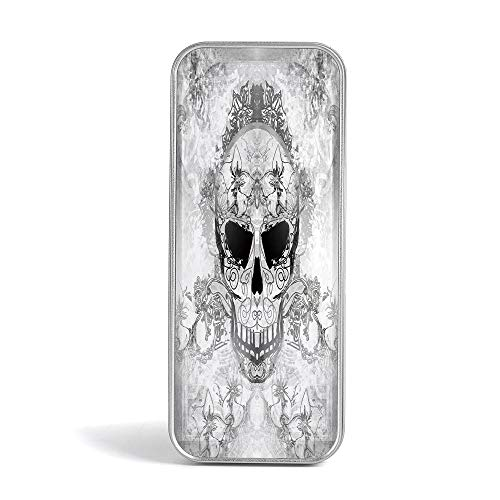 Pencil Tin Box,Day of The Dead Decor,Special Gifts for Children/Kids,Spanish Sugar Skull with Floral Accessories and Feather ()