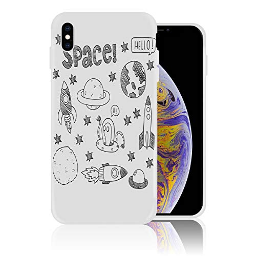 (iPhone Xs Max Case Soft Silicone Rubber Bumper Case Shockproof Full-Body Protective Case Cover for iPhone Xs Max (6.5 inch) Celestial Planetary Solar System Properties UFO Graphic)