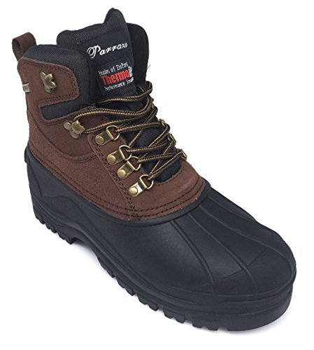 Enzo Romeo HYN Mens Winter Heavy Duty Leather Snow Boots Cold Weather Thermos Rubber Sole Oxfords Work Shoes Brown bJEa40