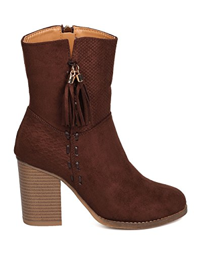 Suede Faux FH60 Women Alrisco Heel Bootie Almond Brown Textured Toe Chunky Tassel Eq6tywc1y