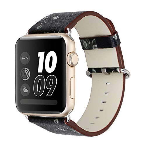 (Solomo Strap Compatible for Apple Watch Band 38MM 40MM, [Flower Series] Leather Fresh Pastoral Style Replacement Women/Girls Wristband with Stainless Metal Clasp for iWatch Series 4/3/2/1 (Black))