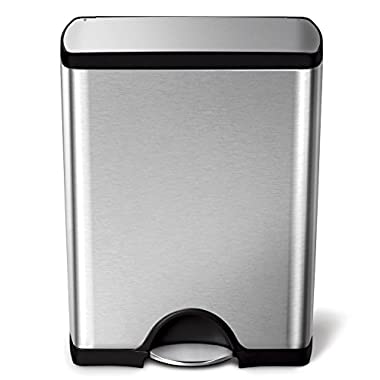 simplehuman Rectangular Step Trash Can, Stainless Steel, 50 L / 13.2 Gal