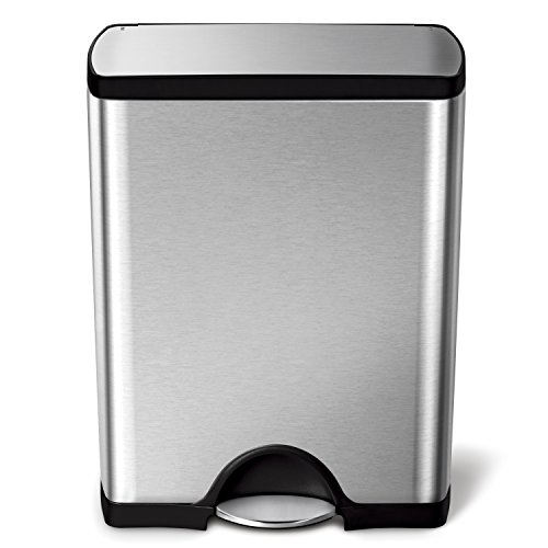 simplehuman 50 Liter / 13.2 Gallon  Stainless Steel Rectangular Kitchen Step...