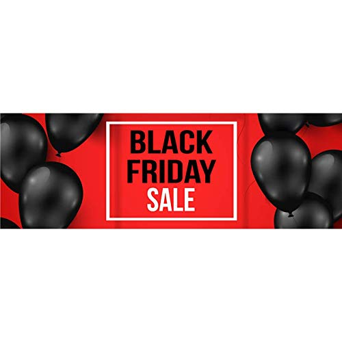 HALF PRICE BANNERS - Black Friday Balloon Banner - Heavy Duty Outdoor - 4'x12' Red - Made in The USA -
