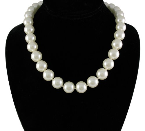 Cream White 14mm Simulated Faux Pearl Necklace Hand Knotted Strand 18 Inch