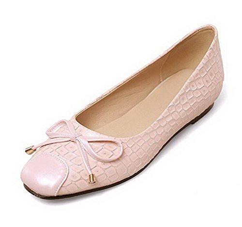 AllhqFashion Damen Ziehen auf Quadratisch Zehe Niedriger Absatz Kariert Pumps Schuhe Pink