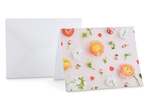 Floral Stationery (Pink Note Card Mini Pack, Floral Note Card, Stationery Set, 8 Cards & Envelopes)