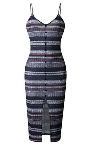Black Button Front Dress - Angashion Womens Dresses - Sexy V Neck Spaghetti Strap Button Front Striped Bodycon Split Midi Dress Red Black L