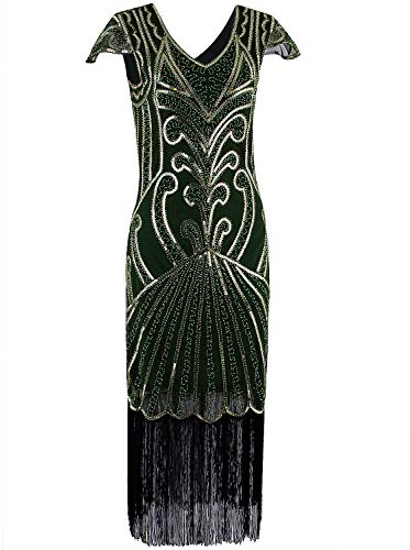 Vijiv Long 1920 Vintage Gatsby Beaded Embellished Fringe Cocktail Flapper Dress ()