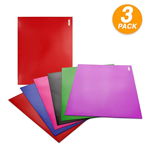 (Emraw Laminated Bright Glossy Color 2 Pocket Poly Portfolio Twin Pockets Folder Legal Document Organizer Designed for Home, Office, School, Classroom and More - Actual Colors May Vary (Pack of 3))
