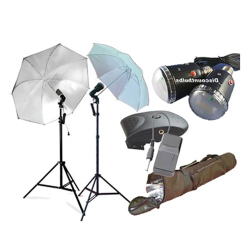 CowboyStudio Photography Flash Strobe Studio Light Kit with Stands, Umbrellas, Wireless Trigger, Receiver and Carrying Case by CowboyStudio