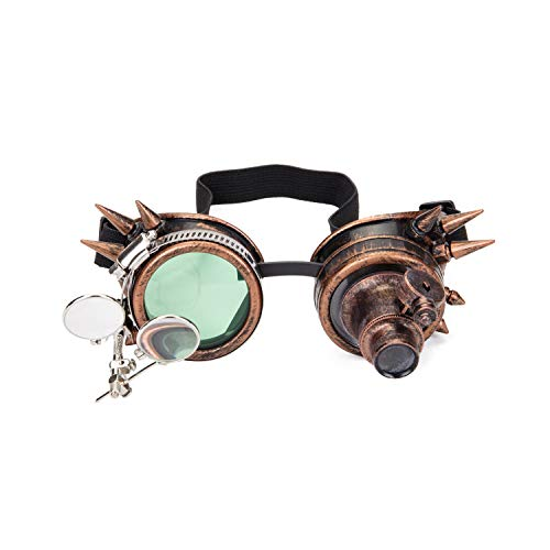Spiked Steampunk Goggles with Double Ocular Loupe Vintage Welding Punk Gothic Glasses -