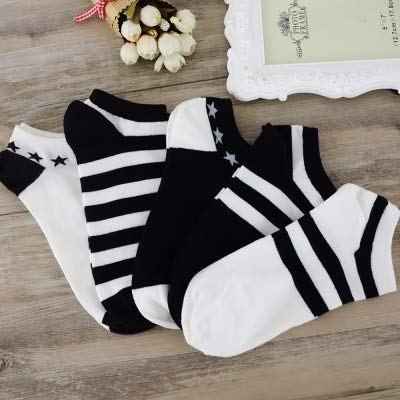 Lannmart 5Pairs Women and Men Comfortable Stripe Cotton Sock Slippers Short Ankle Socks Popsocket Meias Slippers