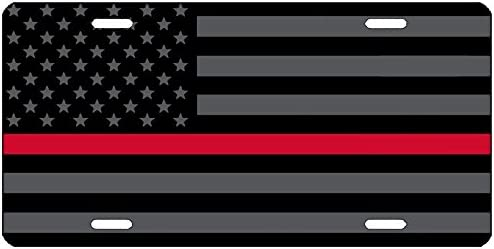 Recognize and Support the Courage of Firefighters 6x12 inch Black Thin Red Line USA Metal License Plate Fireman and Red American Flag Auto Tag for Cars and Trucks White