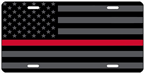 Rogue River Tactical Thin Red Line Firefighter Lives Matter Flag License Plate Novelty Auto Car Tag Vanity Gift For Fire Fighters ()
