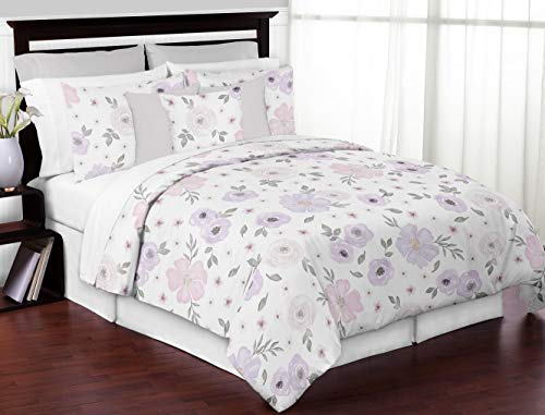 Sweet Jojo Designs Lavender Purple, Pink, Grey and White Shabby Chic Watercolor Floral Girl Full / Queen Teen Childrens Bedding Comforter Set - 3 pieces - Rose Flower (Sets Lavender Comforter Floral)
