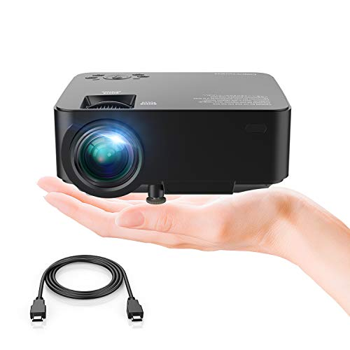 (DBPOWER T20 LCD Mini Movie Projector, Multimedia Home Theater Video Projector with HDMI Cable, Support 1080P HDMI USB SD Card VGA AV TV Laptop Game iPhone Android)