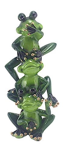 Hear No Evil Frogs - Sada Novelty Frogs See, Hear and Speak No Evil Stacked Figurine, 7