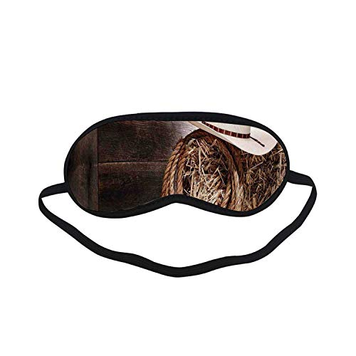 Western Fashion Black Printed Sleep Mask,American West Rodeo Hat with Traditional Ranching Robe on Wooden Ground Folk Art Photo Decorative for Bedroom,7.1