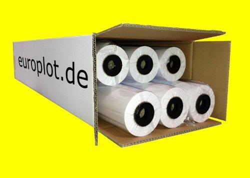 (0,22€/m²) Plotterpapier 6 Rollen ungestrichen | 90gr/m², 61,0cm (610mm) b, 50 l, CAD, unbeschichtet