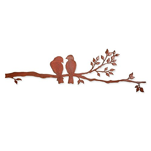 Elizabeth Keith Designs Metal Two Birds on a Branch, Rusted color, 30 inches long