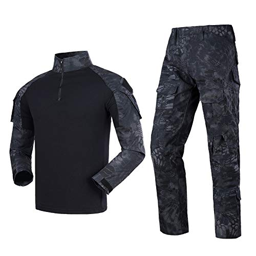 Men's Tactical Shirt and Combat Pants Set Long Sleeve 1/4 Zip T-Shirt Trousers for Military Hunting ()