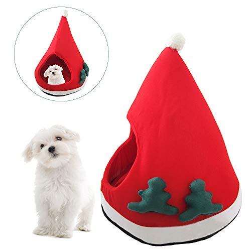 Dog Bed Kennel with Pad Soft Warm Short Plush Cat House - Santa Hat Type Cat Cave Bed with Mat Dog Kennels - Puppy Kitten Christmas Tree Shape Beds Cover Cage Nest for Winter Pet Sleeping - Washable ()