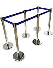 INTBUYING 6 Stanchion Posts Queue Pole Retractable Belt Crowd Control Safety Barriers Belt Length 110in