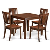 East West Furniture OXDU5-MAH-W 5 PC Kitchen Tables & Chair Set with One Oxford Dining Room Table & 4 Dining Room Chairs in Mahogany Finish
