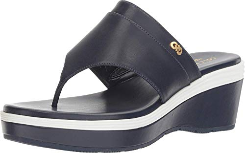 Cole Haan Women's Cecily Grand Thong Marine Blue/Sandshell Leather/Optic White/Marine Blue 10.5 B US