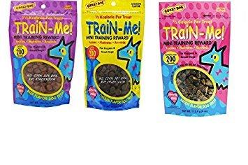 (Crazy Dog MINI Train-Me! Training Reward Dog Treats 3 Flavor Variety Bundle: (1) Bacon Flavor, (1) Chicken Flavor, and (1) Beef Flavor, 4 Oz. Ea. (3 Bags Total) )