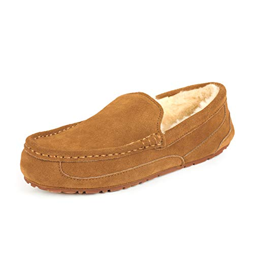 DREAM PAIRS Men's Au-Loafer-01 Tan Suede Faux Fur Slippers Loafers Shoes Size 10.5 M US