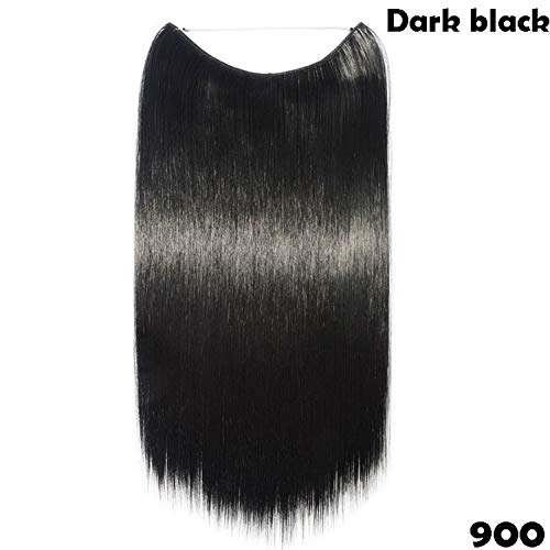 20 Inches Invisible Wire No Clips In Hair Extensions Secret Fish Line Hairpieces Long Straight Natual Hair Synthetic,1,20Inches